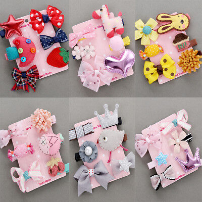 6Pcs/Set Baby Girls Hair Clip Kids Bow Flower Princess Hairpin Hair Accessories