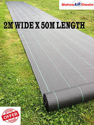 2m x 50m Ground Cover Woven 100gsm Weed Control Fabric Membrane Landscape Mulch