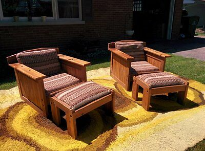Pair Prairie Style Club Lounge Chairs With Ottomans Arts And Crafts