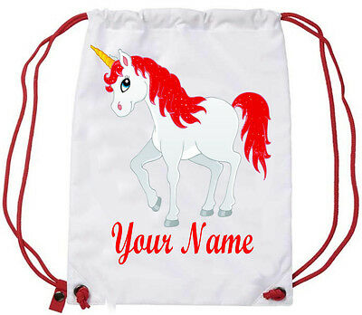 Personalised Rose Gold Unicorn Girls Sport Gym School PE Swim Ballet Dance Bag