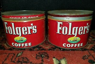 2 - FOLGER'S COFFEE CAN KEY CANS Vintage Folger's Coffee Tin 1952 kitchen decor
