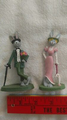 Hallmark Enameled Metal Figurine The Debonair Hare 1980 Bunny Rabbit pair female