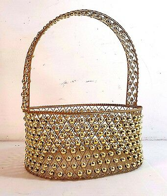 """Gold Tone Woven Wire Basket With Gold Tone Beads 10"""" X 12"""" X 7.75"""""""