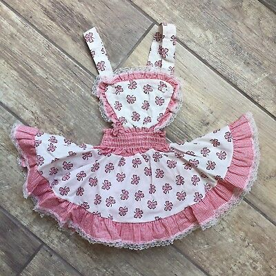 Vintage Skirted Romper Flawless Novelty Print Lace Bows 50s Baby Girl Display
