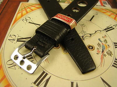 18mm RARE 3 HOLE BUCKLE SPORT NOS Black Rally Sport Mens LEATHER Watch Band NICE