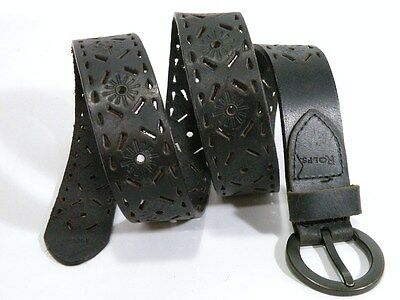 Vintage Rolfs Black Leather Belt 40 Inches Long Nice Cut Out & Tooled Design