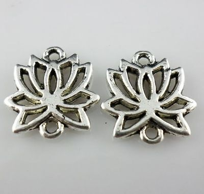 12pcs Tibetan Silver 2 Hole Flower Connectors Charms for Jewelry Making15x16mm