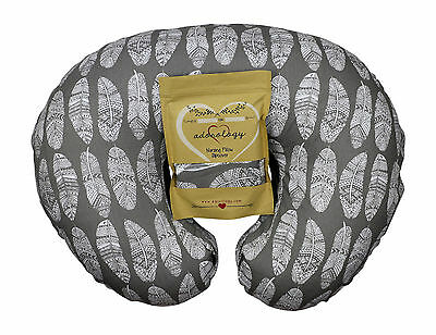 Nursing Pillow Slipcover Gray Feathers Design Maternity Breastfeeding Newborn