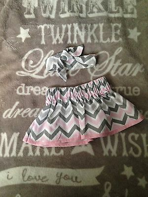 Baby Girl Custom Made Zigzag Skirt With Head Wrap 9-12 Months