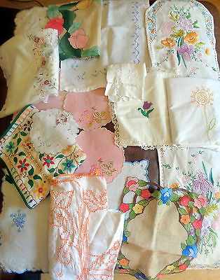 Job Lot Vintage Embroidered Table Cloths Bag Mats Tray Cloth Runner Etc 16 items