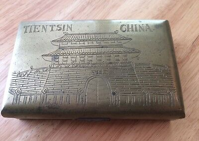 Vintage brass wood lined trinket box Temple Pagonda China Tientsin