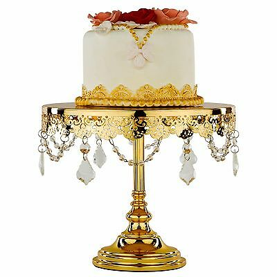 Chrome Plated 10 Inch 25cm Crystal Cake Stand Round Metal Wedding Display Tower