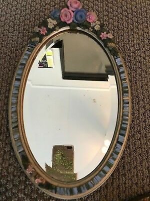 Antique Original Beveled Barbola Mirror w/Ribboned Border Pink Roses 1920's