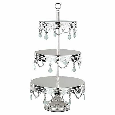Chrome Plated 3-Tier Cupcake Stand w/ Crystals Tall Metal Wedding Display Tower