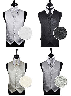 "Men's Scroll Evening Wedding Groom Ascot Waistcoat Only Size 34"" - 60"""
