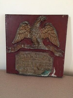 Large Antique / Advertising SIGN - w E Pluribus Unum Eagle TUFTS - Boston, Mass
