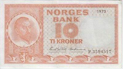 NORWAY BANKNOTE P#31f-4517  10 KRONER 1973 PREFIX P EXTREMELY FINE USA SELLER