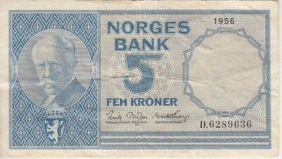 NORWAY BANKNOTE P#30a - 9636 5 KRONER 1956 PREFIX D  FINE PLUS USA SELLER