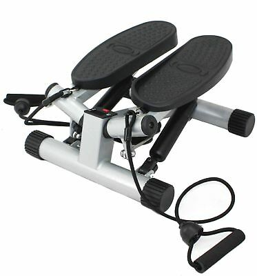 Sunny Health & Fitness Twisting Stair Stepper with Band Silver