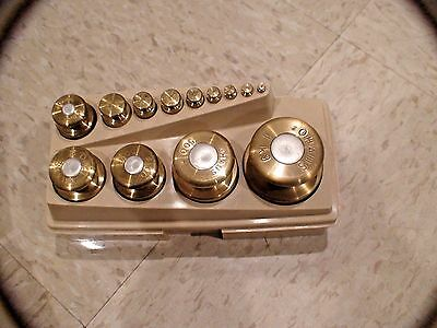 Vintage Ohaus Sto-a-weigh solid brass calibration weights 13pcs(1g to 1Kg)