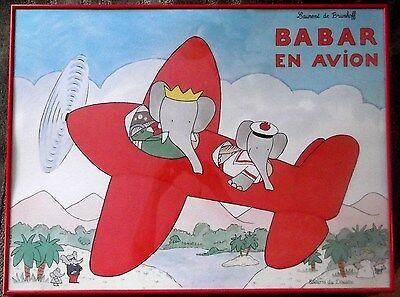 Framed Edition du Desastre Babar En Avion French Art Print Laurent de Brunhoff