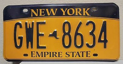 2012 New York  Empire State Gold License Plate Gwe 8634 Used