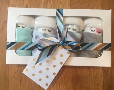 """Baby Shower Gift """"Sleeping Diaper Babies"""" (4) Blue And Grey"""