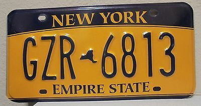2012 New York  Empire State Gold License Plate Gzr 6813 Used
