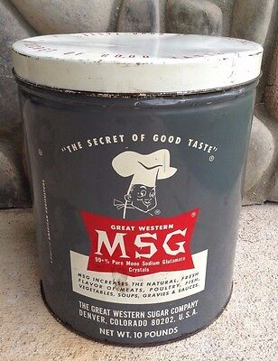 Vintage Antique Great Western MSG Tin 10 LBS Metal Container Tin