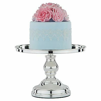 "Chrome Plated Mirror Top Cake Stand 10"" (25cm) Round Metal Party Wedding Display"