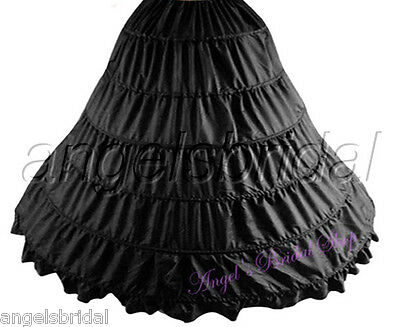 Black 6-Hoop Bridal Wedding Gown Prom Dress Petticoat Underskirt Skirt Slip