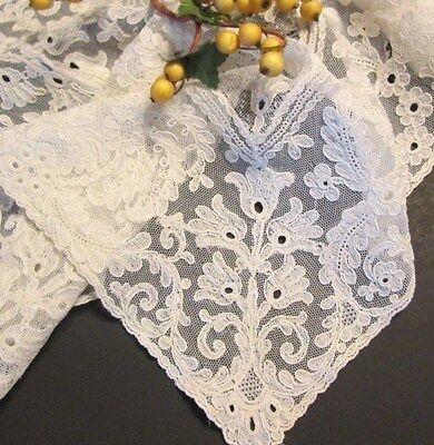 Antique Victorian Point de Gaze Brussels Lace Wedding Hanky Embroider Ivory FLAW