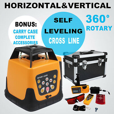 360° Automatic Electronic Self-Leveling Rotary Rotating Red Laser Level Kit 500M