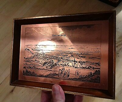 small framed copper etching  picture Edinburgh