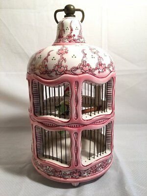 Antique French Chic Chinese Pink Hand Painted Cherry Blossom Porcelain Bird Cage