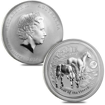 Lot of 2 - 2014 1 oz Australian Silver Lunar Year of the Horse Lion Privy BU Aus