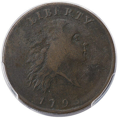 1793 Chain 1C Flowing Hair Large Cent, AMERICA, S-2, R.4+ PCGS F15BN