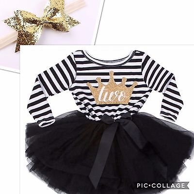 Baby Girls Second 2nd Birthday Outfit Tutu Skirt Dress Black Cake Smash Headband