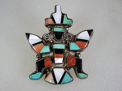 Detailed OLD ZUNI STERLING SILVER & MOSAIC INLAY KNIFEWING PIN
