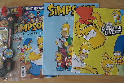 2 x The Simpsons Comics & 1 x Springfield Live Sticker Album + 1 Pk of Stickers