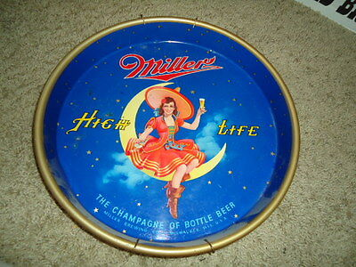Miller High Life Metal Beer Tray Sign  Lg. Tray Sale Check It Out Rare Lady Moon