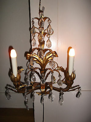 Vintage Estate Hollywood Regency Gold Tole 2 Light Wall Sconce W /crystals