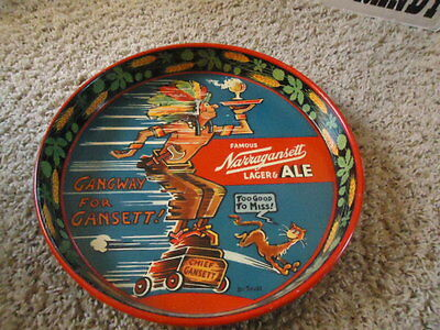 Narragansett Metal Beer Tray Sign  Lg. Tray Sale Check It Out Rare Chief Gansett