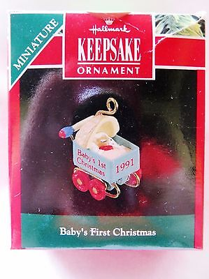 1991 Hallmark Keepsake Miniature Christmas Ornament BABY'S FIRST CHRISTMAS
