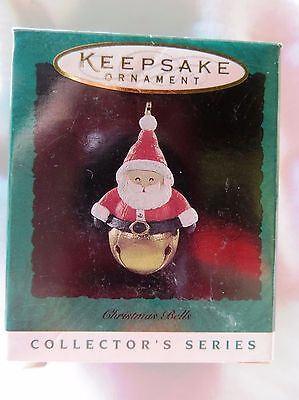 1996 Hallmark Miniature Christmas Ornament CHRISTMAS BELLS SANTA #2 IN SERIES