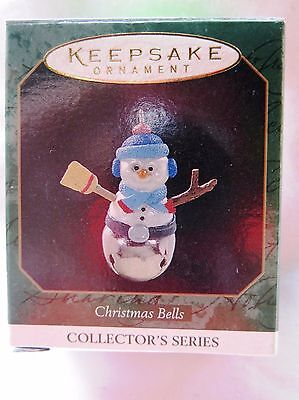 1997 Hallmark Miniature Christmas Ornament CHRISTMAS BELLS SNOWMAN #3 IN SERIES