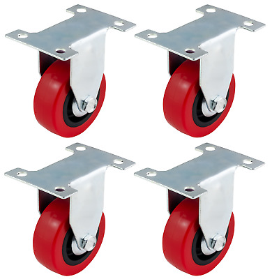 4x 50mm Red Polyurethane Fixed Castors Casters Wheels - Heavy Duty 200Kg/Set
