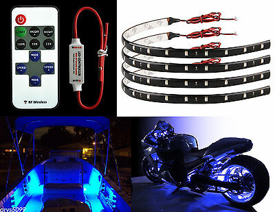"12V 12"" 15SMD Remote Flexible LED Strip Light Kit Waterproof For Car Truck Boat"