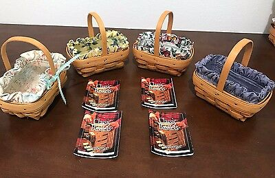 Lot of 4 Longaberger PARSLEY Booking Baskets w/ 9 Liners, 6 Protect & Pamphlets