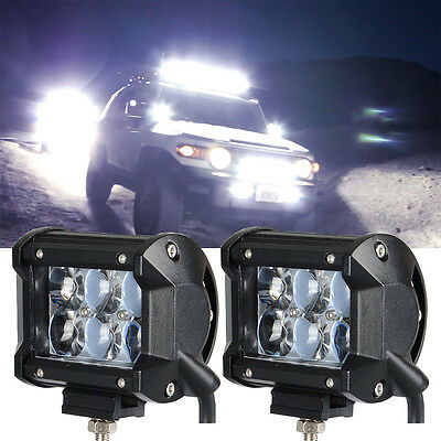 2pcs 4D lens spot Beam work light bar fish eye pod lights truck suv boat offroad